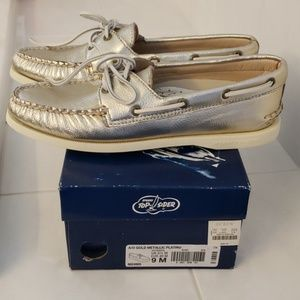 J.Crew Sperry Top-Sider Gold leather boat shoes